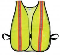 """Lime Soft Mesh Safety Vest - 1-1/2"""" Orange/Silver/Orange"""