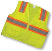 CL2 Lime Surveyor Vest With Pouch Pockets