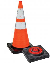 """28"""" Collapsible Traffic Cones with Rubber Base- 3Pk"""